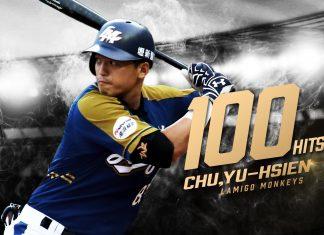 lamigo monkeys chu yu hsien career 100 hits