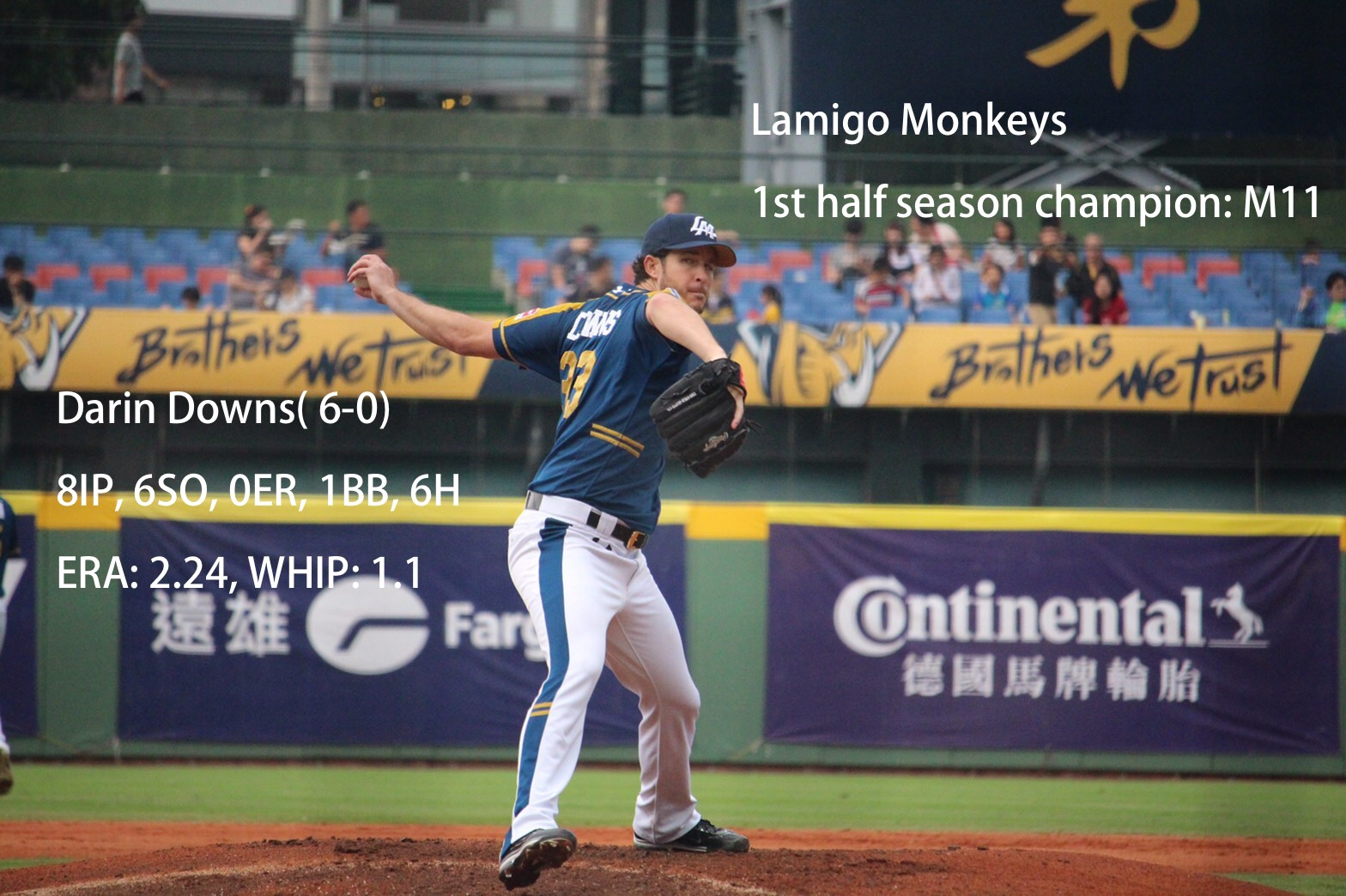 Downs' magnificent outing, 8 scoreless innings with 6SO lights Monkeys magic number. Photo credit: (薛薛)