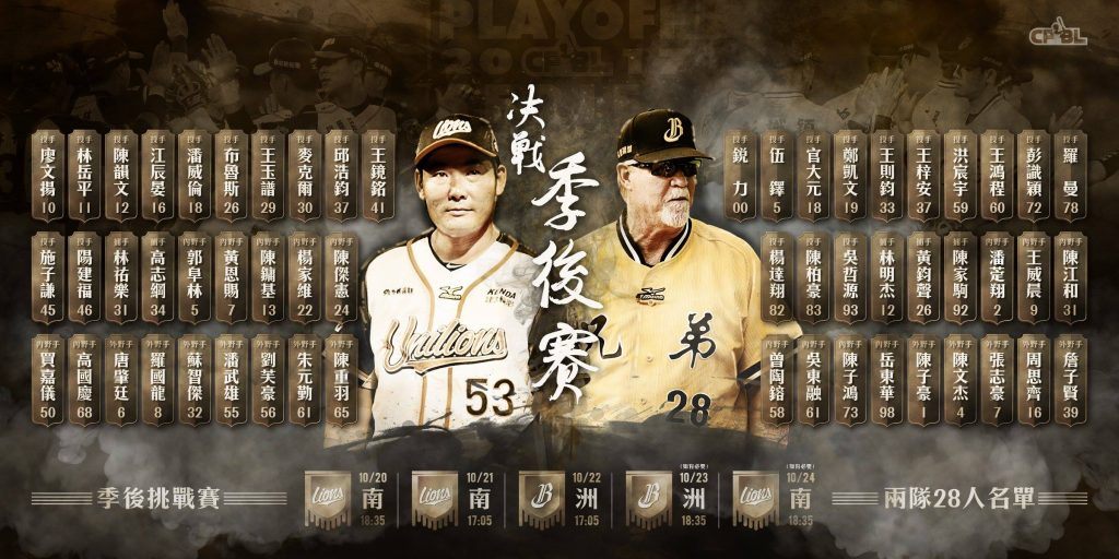 Roster of Uni-Lions and Chinatrust Brothers 2017 playoff series.