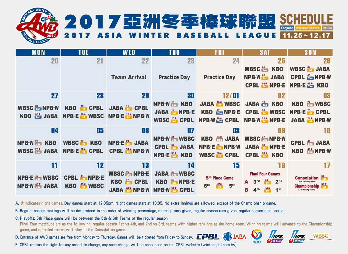 English Schedule for 2017 Asia Winter Baseball League