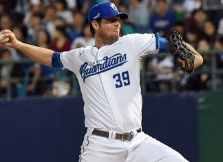 Fubon Guardians Mike Loree pitched a 7 perfect innings against Uni-Lions