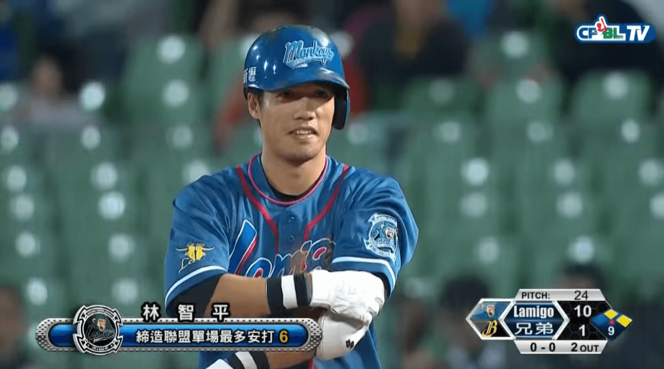 Lin Chih-Ping collects his 6th hit of the night, setting CPBL record